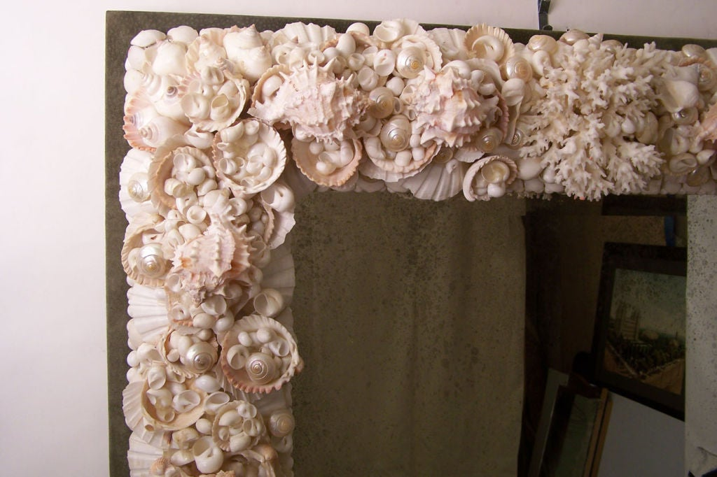 Exceptional Large Seashell Frame Mirror At 1stdibs