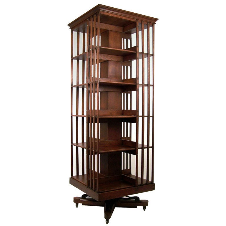 Large American Oak Revolving Bookcase at 1stdibs