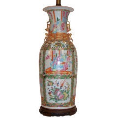 Large 19th Century Chinese Famille Rose Lamp