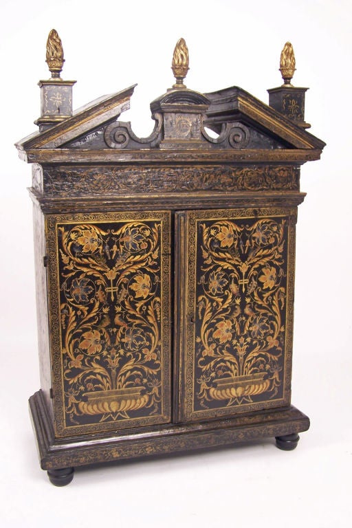 A beautifully hand painted cabinet with original hand wrought strap hinges (might possibly be a Protestant sacristy from Switzerland). European, early 19th century.