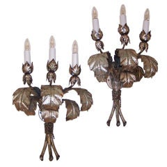Large Italian Silver Leaf Tole Sconces
