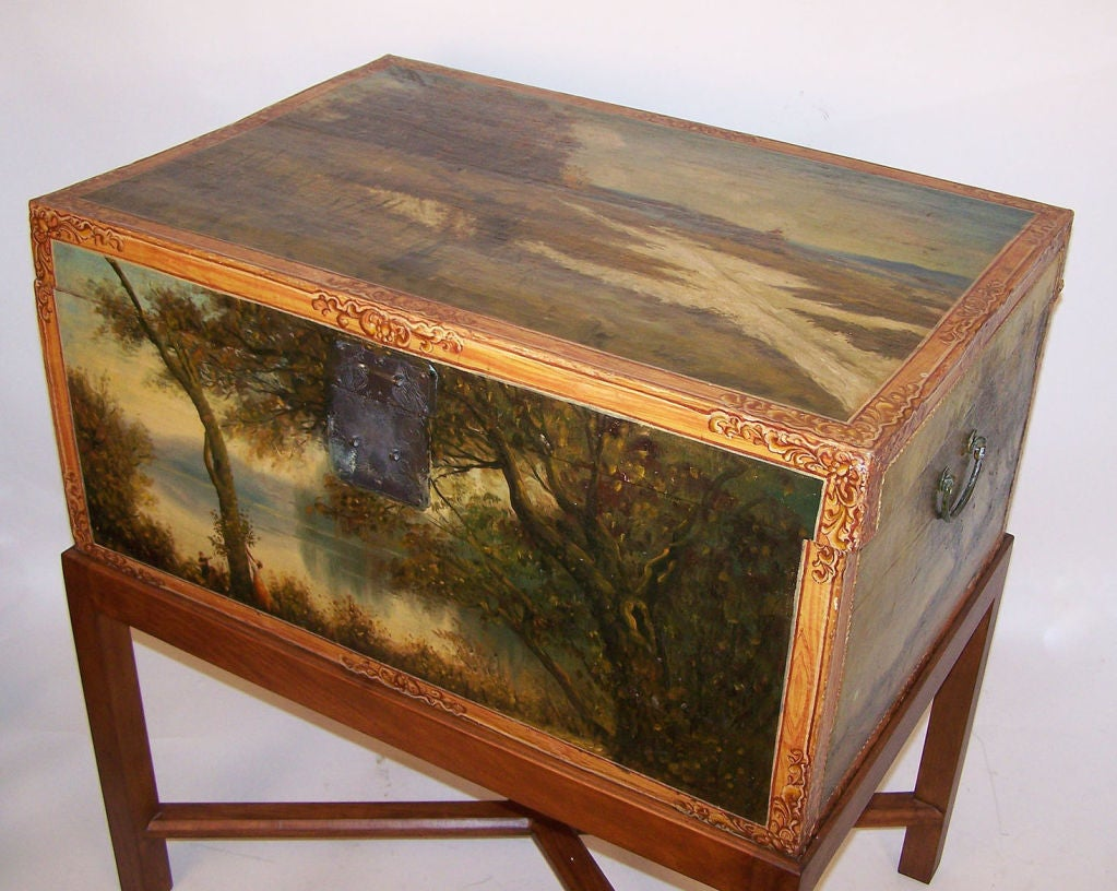 19th Century Chinese Hand-Painted Leather Trunk on Stand For Sale 4