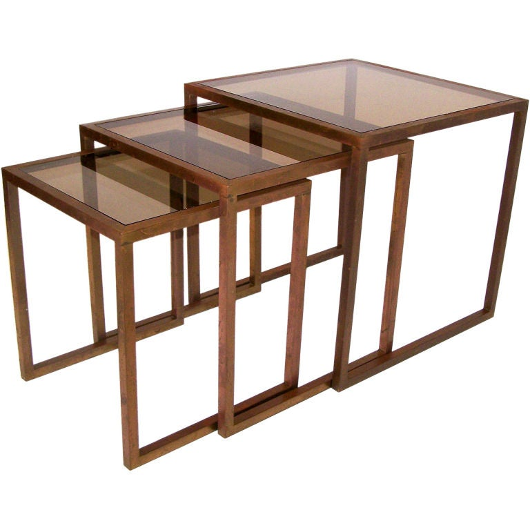 Stackable Nesting Tables ~ Bronze nesting stacking tables at stdibs