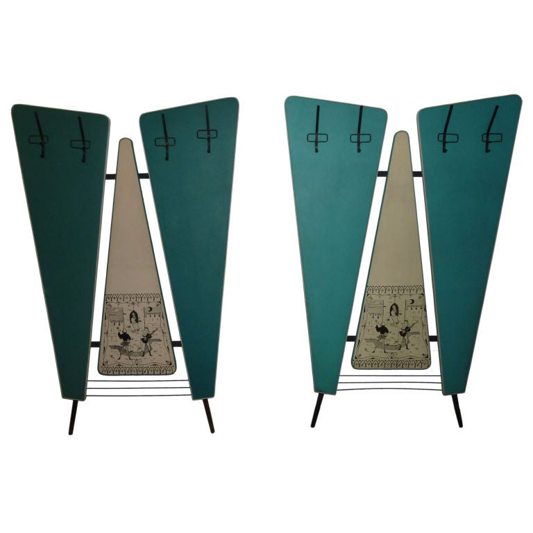 Italian Mid-Century Pair of Wall Coat Racks