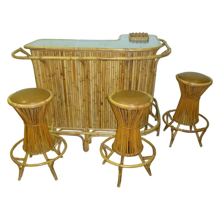 italian deco bar and 3 bar chairs at 1stdibs