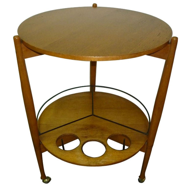 Round bar cart on the wheels Fratelli Reguitti .Possible Gio Ponti design.