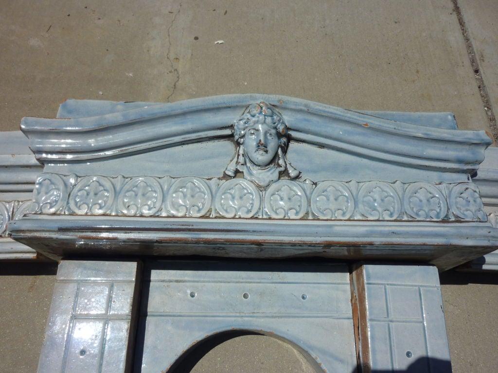 Belle Époque Majolica Fireplace Mantel For Sale