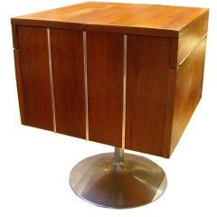 Mid Century Walnut And Chrome Cabinet