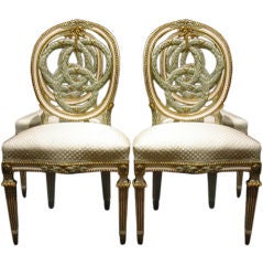 Set Of Four Italian Neoclassic Painted And Gilt Chaises