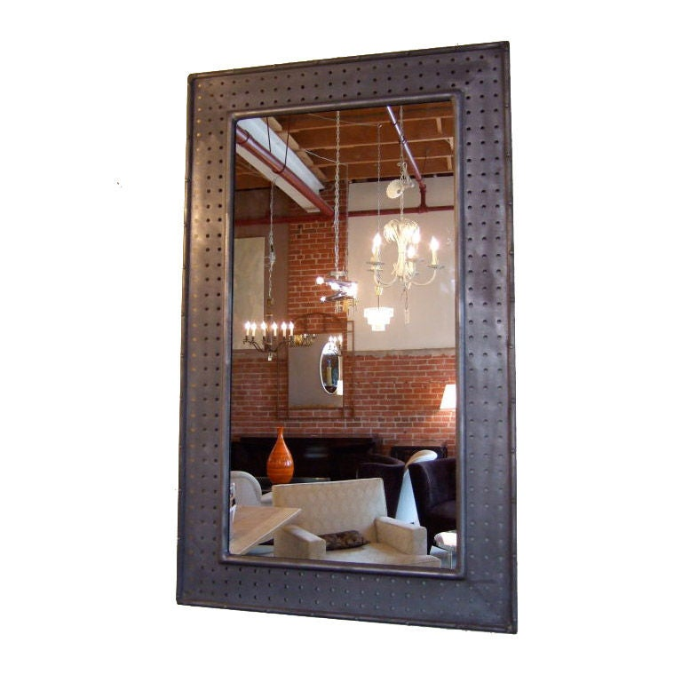 Large Industrial Mirror At 1stdibs