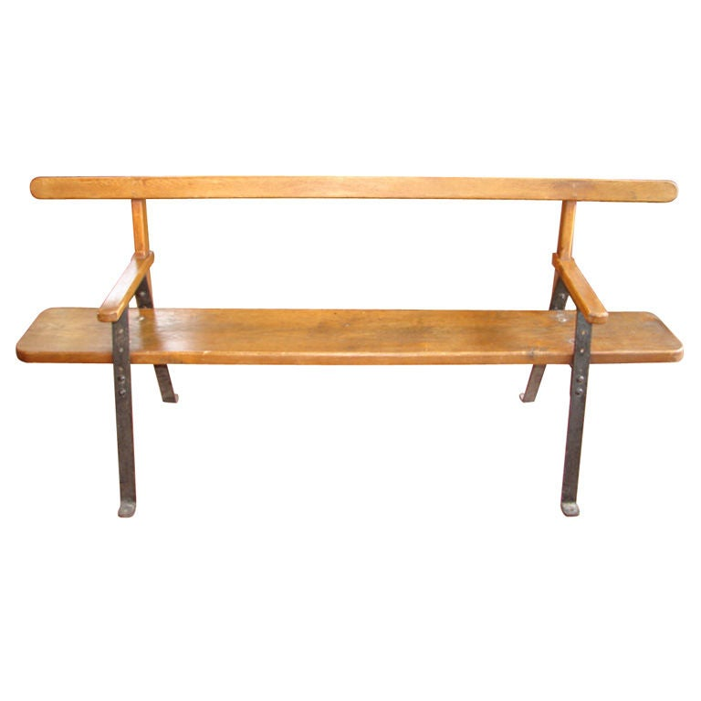 Wood Plank And Iron Support Bench At 1stdibs
