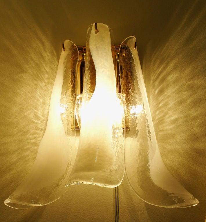 Four shoe horn shaped Venetian-Murano glass sconces at 1stdibs