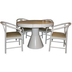 Italian 70's lacquered wood gaming table and chairs