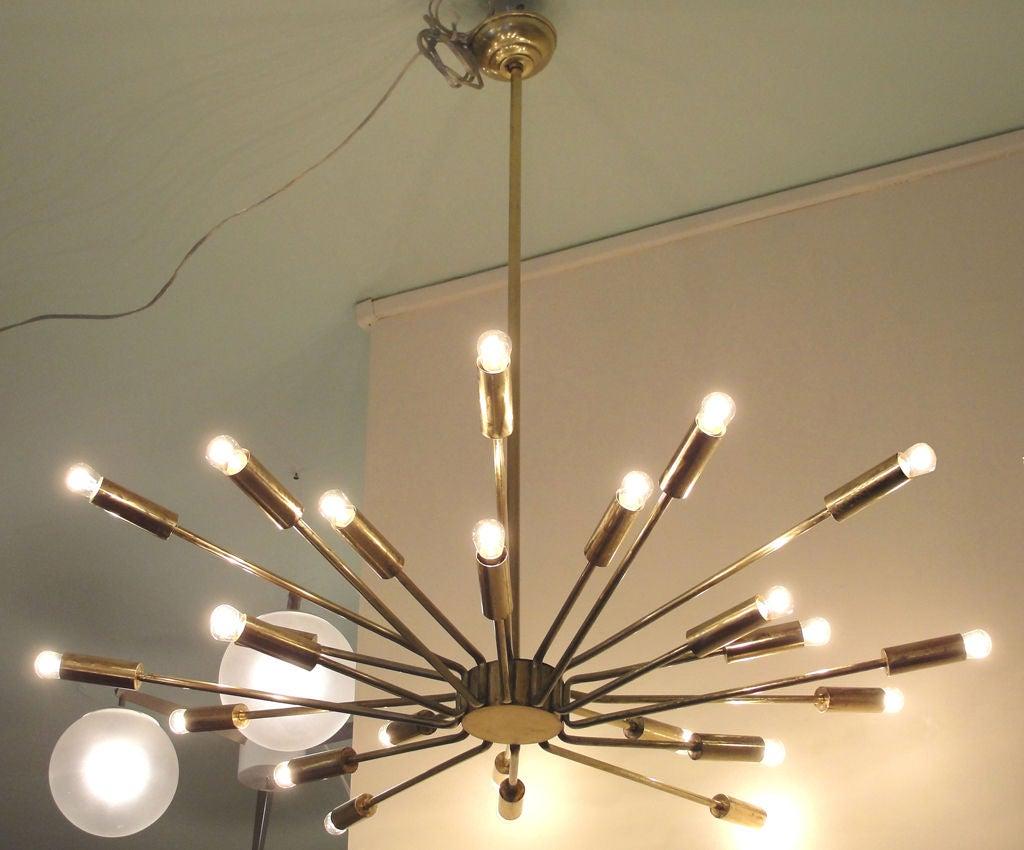 starburst brass italian 50 39 s chandelier at 1stdibs. Black Bedroom Furniture Sets. Home Design Ideas