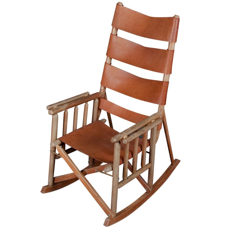 Folding Leather And Wood Rocking Chair At 1stdibs