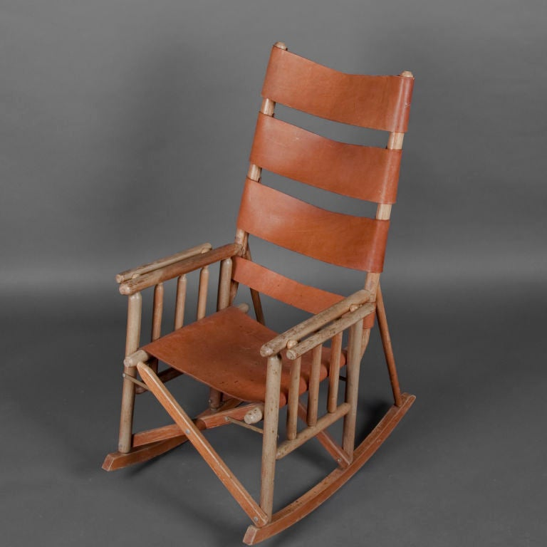 Folding leather wood rocking chair image