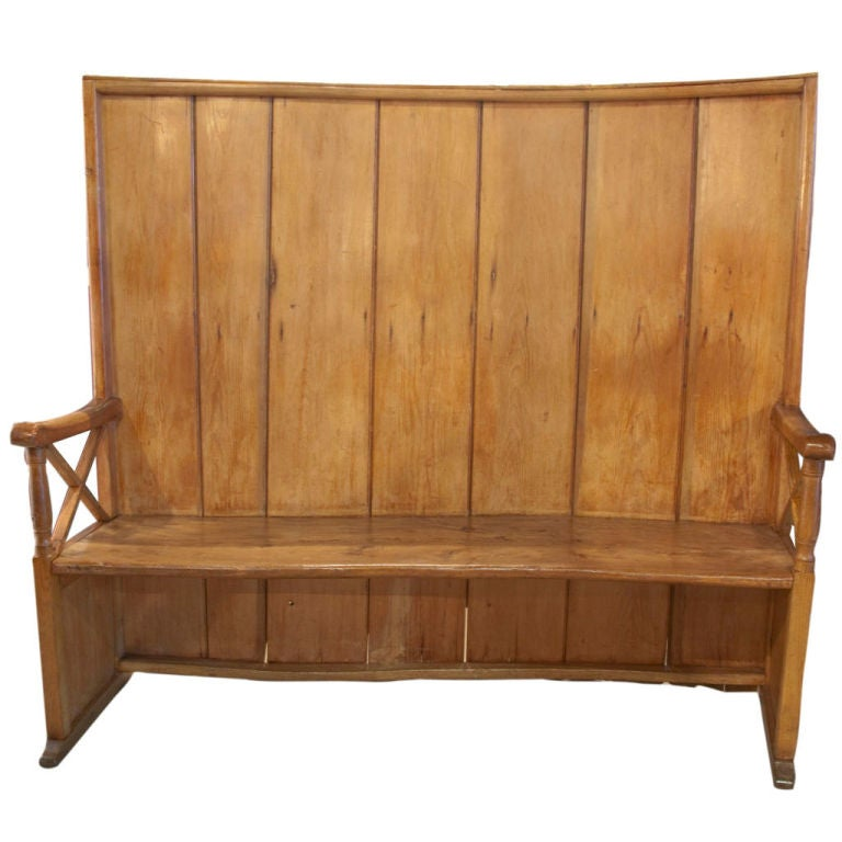 Wood Bench With Back ~ High back curved wooden bench at stdibs