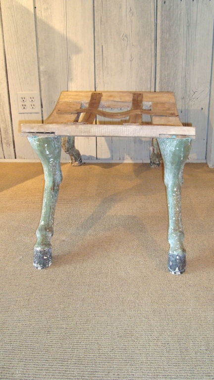 A fantastic pair of carved and painted hoof benches with wonderful, realistic details, made in Italy and ready for custom upholstery.