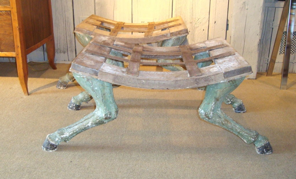 Pair of Carved Hoof Benches For Sale 1