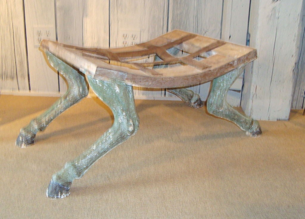 Wood Pair of Carved Hoof Benches For Sale