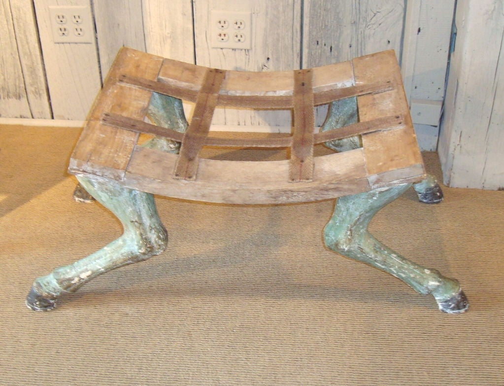 Contemporary Pair of Carved Hoof Benches For Sale