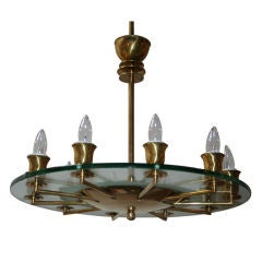 1940s Italian Brass and Glass Chandelier
