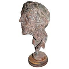 1950s Steel Sculpture of a Man's Head