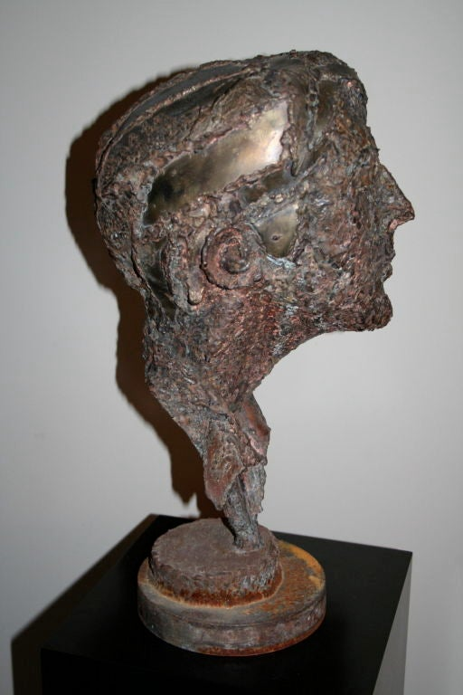 1950s Steel Sculpture of a Man's Head  6