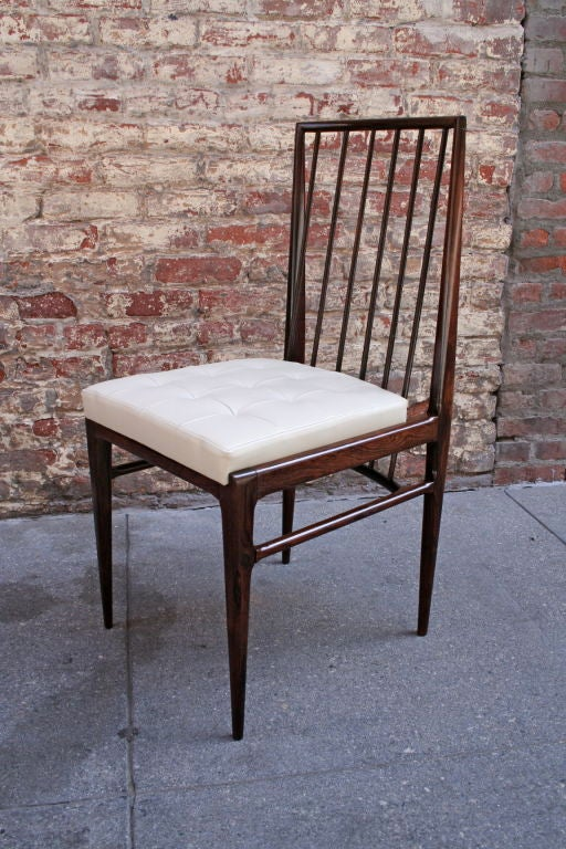 Set of six 1940s Brazilian jacaranda dining chairs upholstered with beige leather attributed to Tenreiro