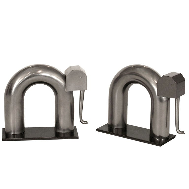 art deco elephant bookends by walter von nessen for chase at 1stdibs. Black Bedroom Furniture Sets. Home Design Ideas