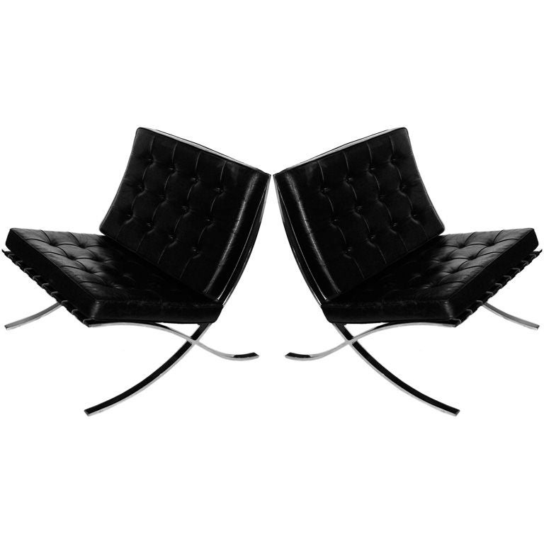 pair of original mies van der rohe knoll barcelona chairs w tags at 1stdibs. Black Bedroom Furniture Sets. Home Design Ideas