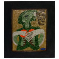 Exotic Framed Glass Tile Mosaic by Salvador Teran