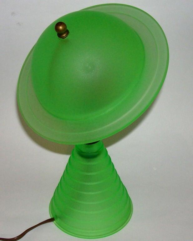 Rare Original Art Deco Green Glass Saturn Lamp At 1stdibs