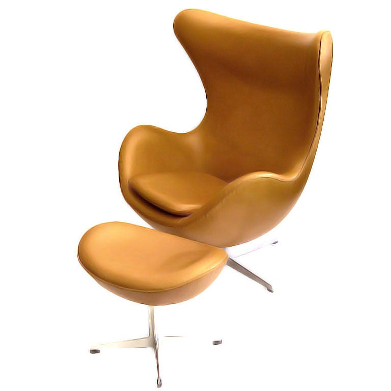 outstanding egg chair w ottoman in leather by arne jacobsen at 1stdibs