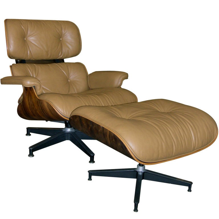 original eames 670 lounge chair and 671 ottoman in camel leather at 1stdibs. Black Bedroom Furniture Sets. Home Design Ideas