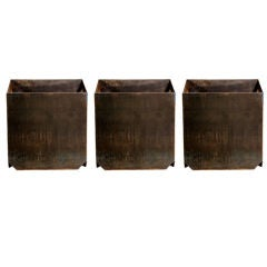 Set of 3 large custom patinated steel cubist planters
