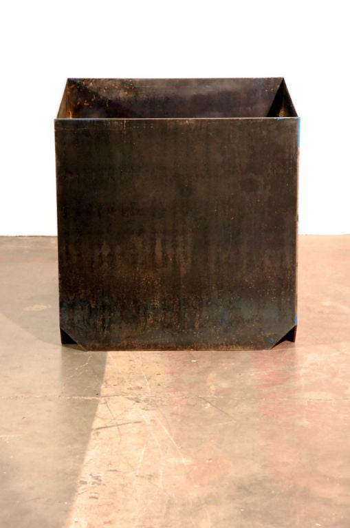 Set of Three Large 'Cubiste' Patinated Steel Plate Planters by Design Frères 2