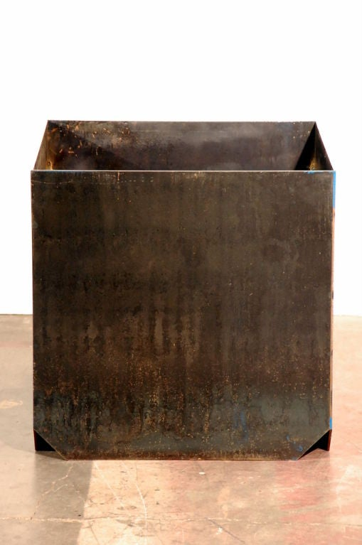 Set of Three Large 'Cubiste' Patinated Steel Plate Planters by Design Frères 3