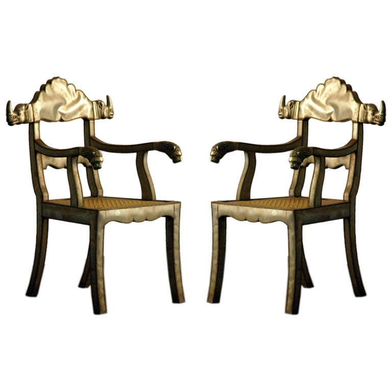 Pair of Silvered Metal Rhinoceros and Lion Maharaja Style Armchairs