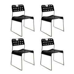 Set of Four Cool 'Omstack' Perforated Metal Chairs by Rodney Kinsman