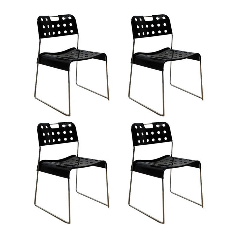 Set of Four Cool 'Omstak' Perforated Metal Chairs by Rodney Kinsman