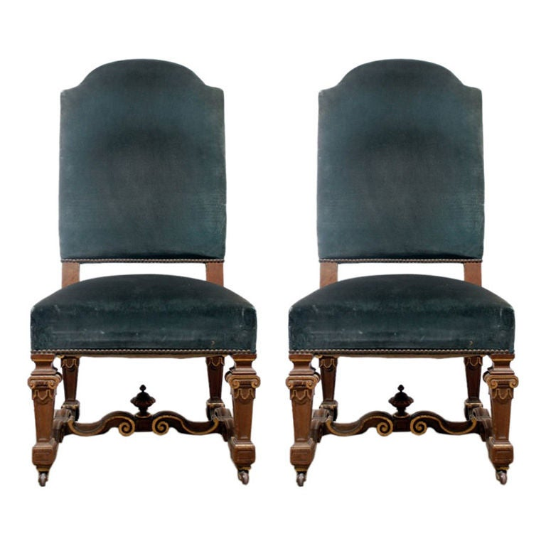 Pair Of Oversized Louis Xiv Style Chairs At 1stdibs