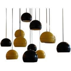 Set of 10 French 60's globe lights