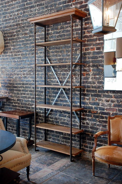 Tall French Industrial Bookcase Shelves At 1stdibs