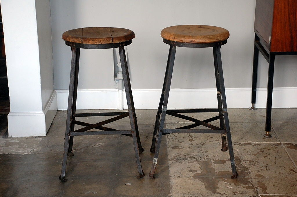 Pair of steel and oak industrial bar stools at 1stdibs