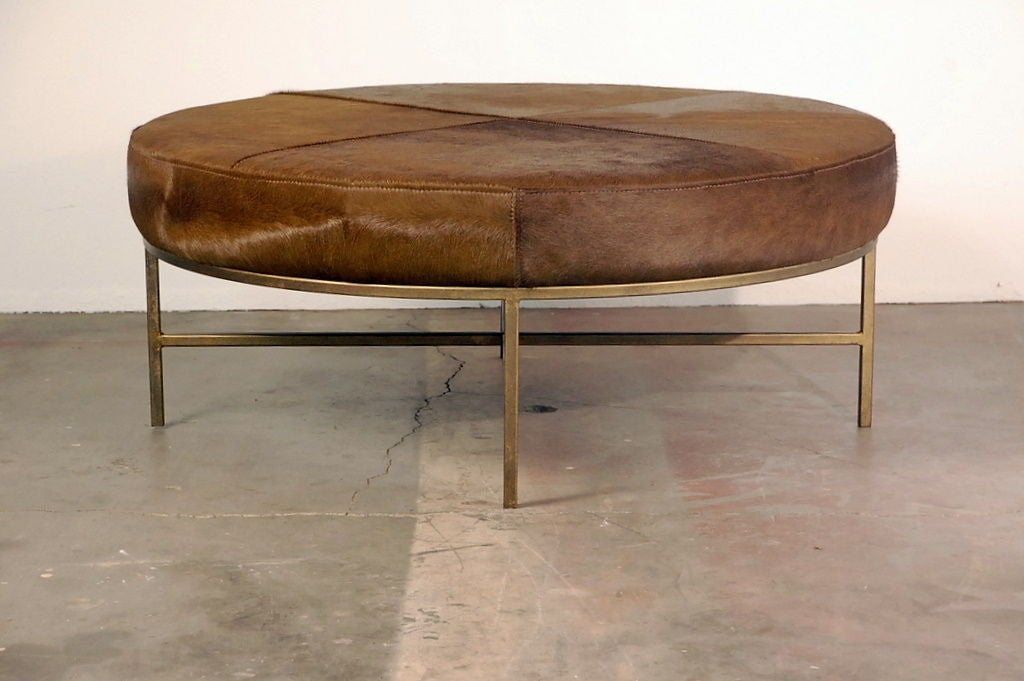 Green Brown Pony Hide Ottoman Coffee Table At 1stdibs