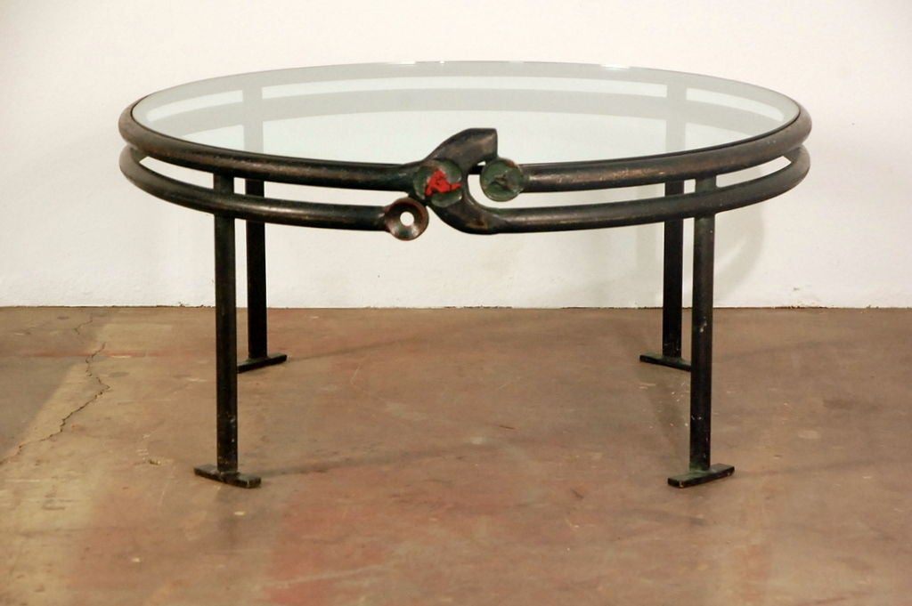 One of a kind wrought iron round coffee table at 1stdibs Wrought iron coffee tables
