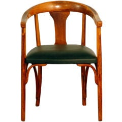 Bent wood leather desk chair by Thonet