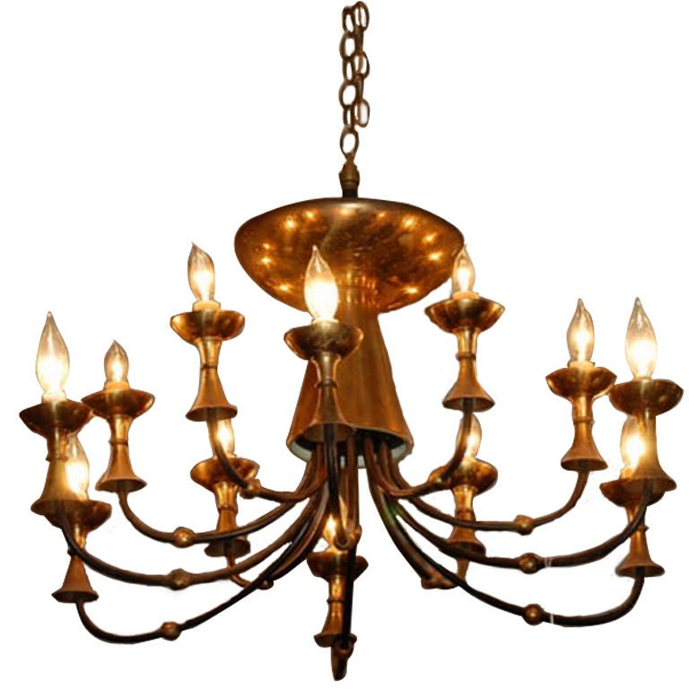 Large Brass Chandelier In The Style Of Paavo Tynell For
