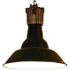 Dark green French industrial workshop hanging light